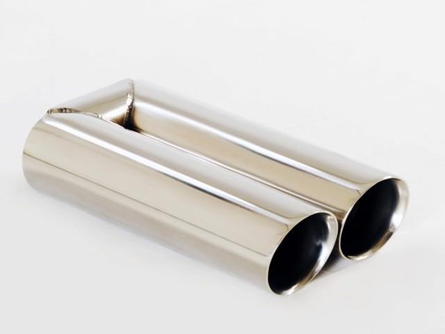 Endrohr 2x90mm rund schräg breite Kante